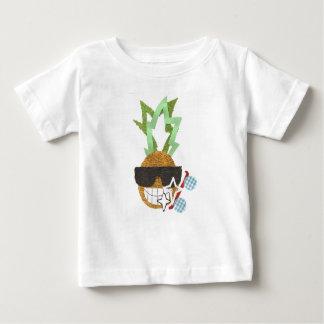 クールなパイナップル背景のベビーのTシャツ無し ベビーTシャツ