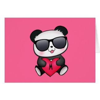 クールなパンダくまのサングラスのバレンタインデーのハート カード