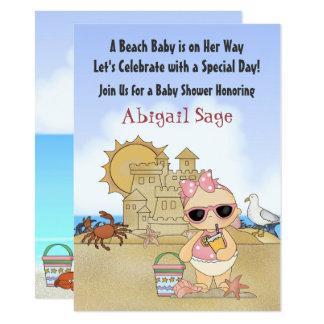 クールなビーチの女の赤ちゃんのベビーシャワーの招待状 カード
