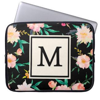 クールなピンクの黒いモノグラムのヴィンテージの花柄の水彩画 ラップトップパソコンスリーブ