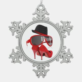 クールなファッションの赤い女性帽子靴及びガラス ピューター製スノーフレークオーナメント