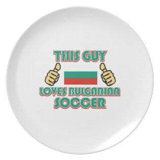 クールなブルガリアのサッカーファンのデザイン プレート
