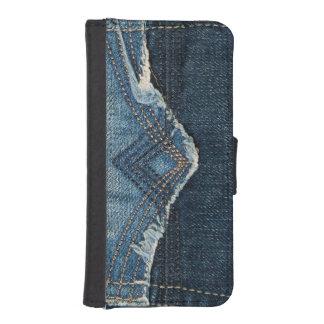 クールなブルー・ジーンズのステッチされた小型の質 iPhoneSE/5/5sウォレットケース