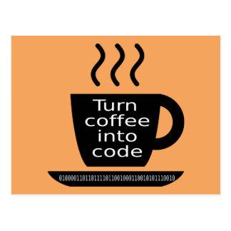 クールなプログラマーギークのコーヒー常習 はがき