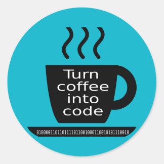 クールなプログラマーギークのコーヒー常習 ラウンドシール