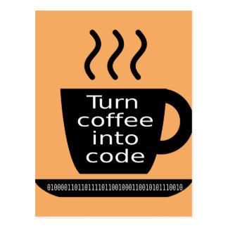 クールなプログラマーギークのコーヒー常習 葉書き