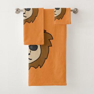 クールなライオンのオレンジ バスタオルセット