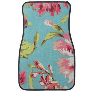 クールなレトロのピンクおよび青い花柄 フロアーマット