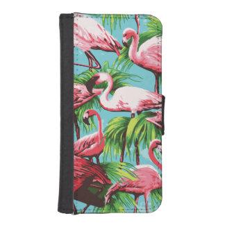 クールなレトロのピンクのフラミンゴ iPhoneSE/5/5sウォレットケース