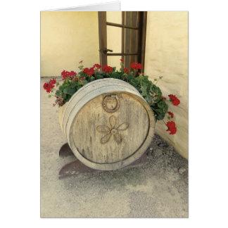 クールなワインバレルの花の挨拶状! カード
