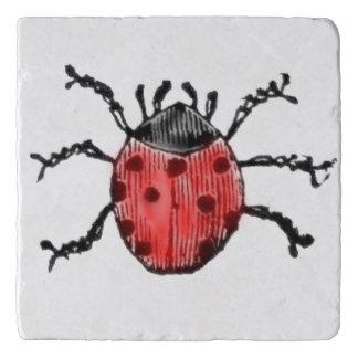 クールなヴィンテージのてんとう虫の絵 トリベット