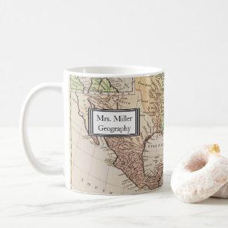 クールなヴィンテージの新しい世界地図の地理学の先生 コーヒーマグカップ