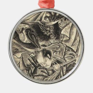 クールなヴィンテージの日本の鬼の武士の戦いの入れ墨 メタルオーナメント