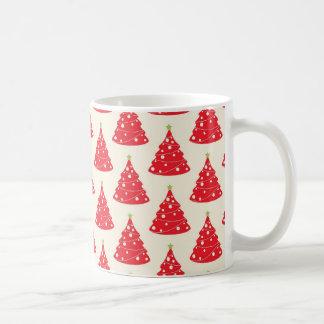 クールな休日の赤いクリスマスツリーパターンクリスマス コーヒーマグカップ