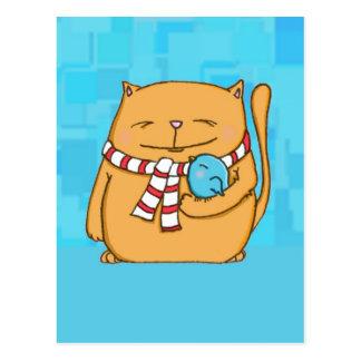 クールな日の暖かいハートの大きな猫および小さい鳥 ポストカード