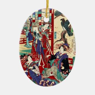 クールな日本のヴィンテージのukiyo-eのトリオの芸者スクロール セラミックオーナメント