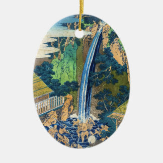 クールな日本のヴィンテージのukiyo-eの滝Hokusai セラミックオーナメント