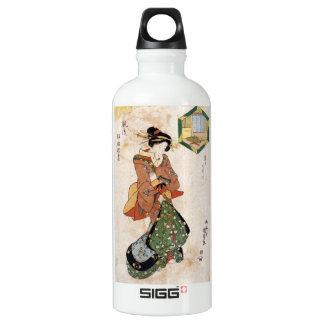 クールな日本のヴィンテージのukiyo-eの芸者の女性スクロール ウォーターボトル