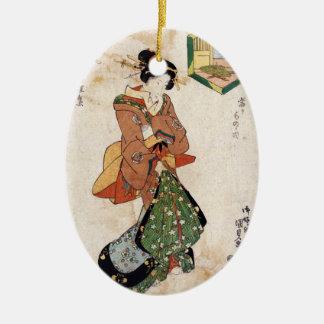 クールな日本のヴィンテージのukiyo-eの芸者の女性スクロール セラミックオーナメント