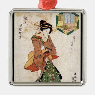 クールな日本のヴィンテージのukiyo-eの芸者の女性スクロール メタルオーナメント