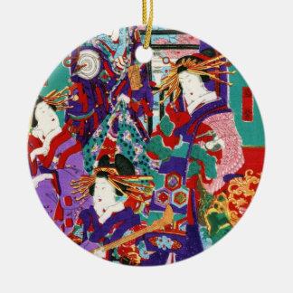 クールな日本のヴィンテージのukiyo-eの芸者の女性芸術 セラミックオーナメント