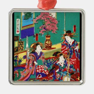 クールな日本のヴィンテージのukiyo-eの芸者の女性芸術 メタルオーナメント