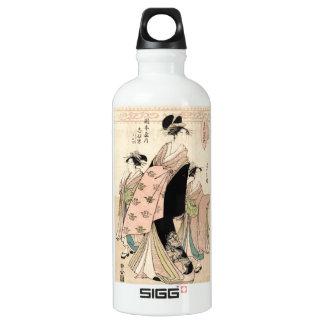 クールな日本のヴィンテージのukiyo-eの芸者の女性 ウォーターボトル