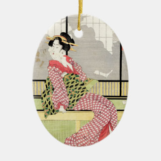 クールな日本のヴィンテージのukiyo-eの芸者スクロール芸術 セラミックオーナメント