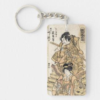 クールな日本のヴィンテージのukiyo-eのsamurajの戦士の芸術 キーホルダー