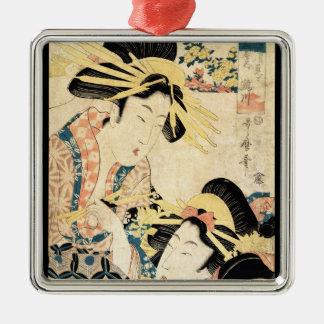 クールな日本のヴィンテージのukiyo-e 2の芸者の女性 メタルオーナメント
