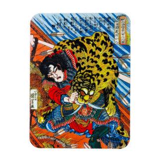 クールな日本の伝説の英雄の戦士のトラの戦い マグネット