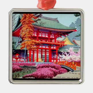 クールな日本の赤い寺院の春Asano Takeji メタルオーナメント