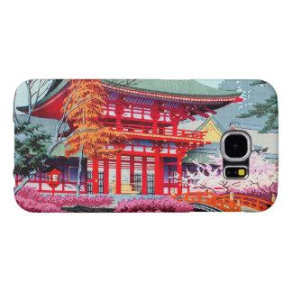 クールな日本の赤い寺院の春Asano Takeji Samsung Galaxy S6 ケース