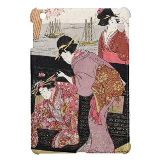 クールな日本のukiyo-eのトリオの芸者の女性スクロール iPad mini カバー