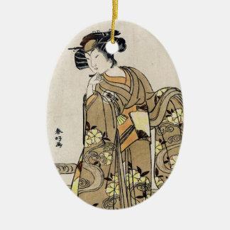 クールな日本のukiyo-eのヴィンテージの芸者の古いスクロール セラミックオーナメント
