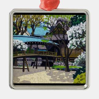 クールな日本人の春の村の町橋さくらんぼ メタルオーナメント