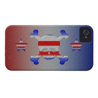 クールな星及びストライプなスカル米国の愛国心が強いiPhone 4 Case-Mate iPhone 4 ケース