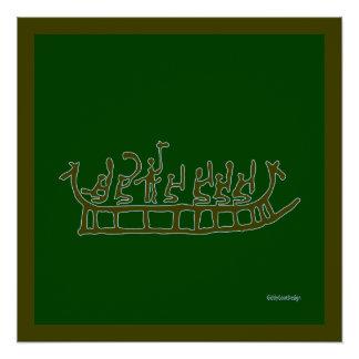 クールな有史以前の人の洞窟の壁の装飾のドラゴンの船 ポスター