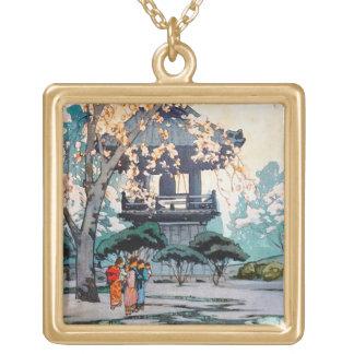 クールな東洋のひろし吉田の日本人の神社の芸術 ゴールドプレートネックレス