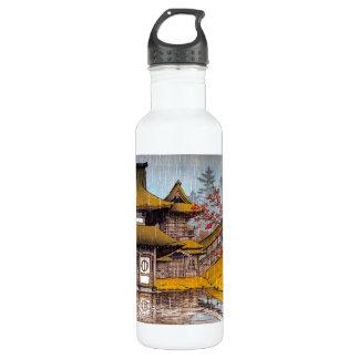 クールな東洋のクラシックな日本の寺院の絵画 ウォーターボトル