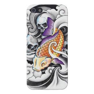 クールな東洋のコイのコイのスカルの入れ墨 iPhone 5 CASE