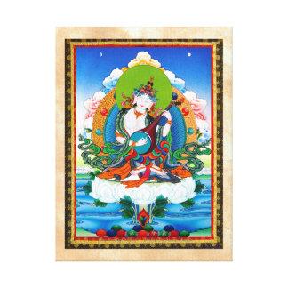 クールな東洋のチベットのthangkaの入れ墨Saraswati キャンバスプリント