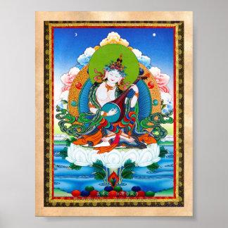 クールな東洋のチベットのthangkaの入れ墨Saraswati ポスター