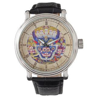 クールな東洋のチベットのthangkaの神の入れ墨の芸術 腕時計