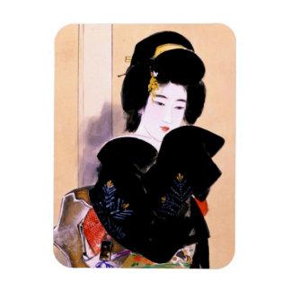 クールな東洋の伝統的な日本の芸者の女性芸術 マグネット