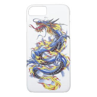 クールな東洋の日本ので青いドラゴンのtatttoo iPhone 7ケース