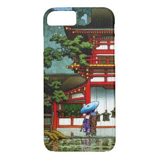 クールな東洋の日本のクラシックな寺院雨芸術 iPhone 7ケース