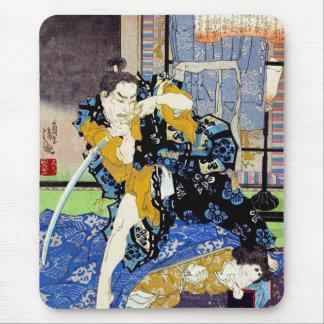 クールな東洋の日本のクラシックな武士の戦士の芸術 マウスパッド