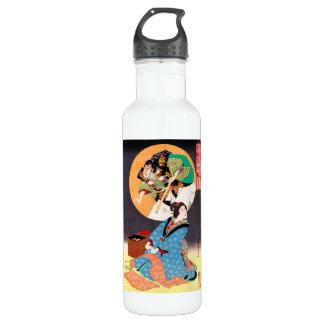 クールな東洋の日本のクラシックな武士の芸者の芸術 ウォーターボトル