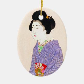 クールな東洋の日本のクラシックな芸者の女性芸術 セラミックオーナメント